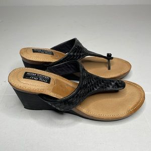 Adam Tucker Me Too Kain Black Woven Sandals | 8.5